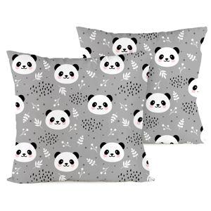 4home Povlak na polštářek Nordic Panda, 40 x 40 cm, sada 2 ks