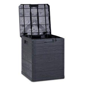 Úložný box na polstry Woody tmavě šedá, 90 l