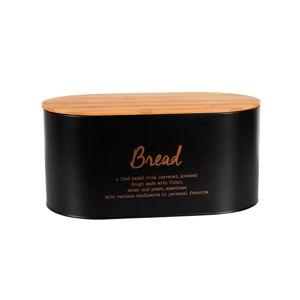 Altom Box s bambusovým víkem na pečivo, černá