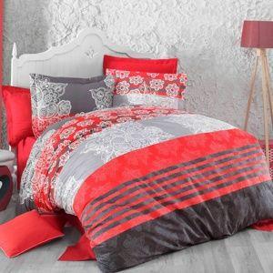 Bavlněné povlečení Delux Stripes červená, 240 x 200 cm, 2 ks 70 x 90 cm