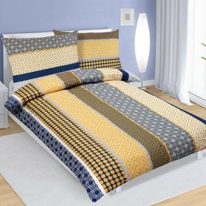 Bavlněné povlečení Pruhy modrožlutá, 140 x 200 cm, 70 x 90 cm