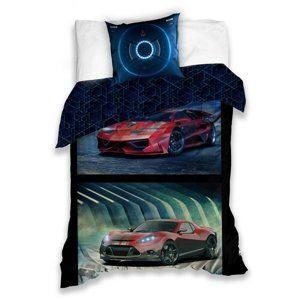 Bavlněné povlečení Závodní auta, 140 x 200 cm, 70 x 80 cm