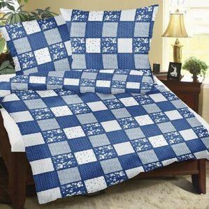 Bellatex Bavlněné povlečení Patchwork modrá, 140 x 220 cm, 70 x 90 cm