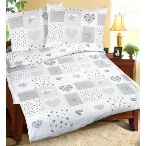 Bellatex Bavlněné povlečení Srdce patchwork, 240 x 200 cm, 2 ks 70 x 90 cm