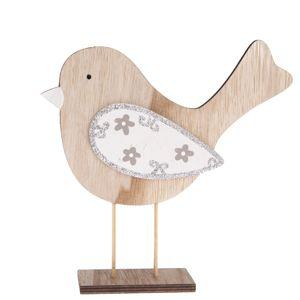 Dřevěná dekorace Ptáček Pinky, 19,5 x 20 cm