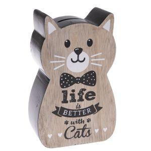 Dřevěná kasička Kočka, černá, 10 x 16 x 5 cm