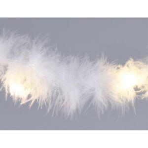 Girlanda z bílého peří s 20 LED, 2 m, teplá bílá