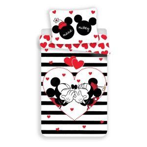 Jerry Fabrics Bavlněné povlečení Mickey a Minnie Stripes, 140 x 200 cm, 70 x 90 cm