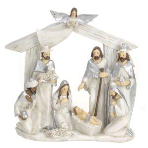 Koopman Vánoční dekorace Betlém stříbrná, 22 x 7 x 22 cm