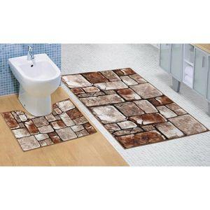 Koupelnová sada 3D tisk Kamenná dlažba, 60 x 100 cm, 60 x 50 cm