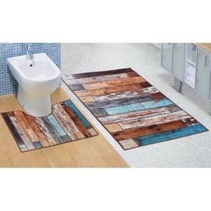 Koupelnová sada 3D tisk Podlaha dřevěná, 60 x 100 cm, 60 x 50 cm