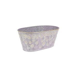 Kovový obal, truhlík na květiny Daisy 25 x 15 cm, fialová