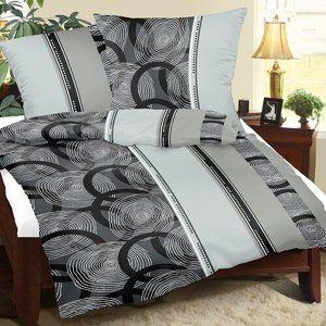 Krepové povlečení Spirály šedá, 140 x 220 cm, 70 x 90 cm