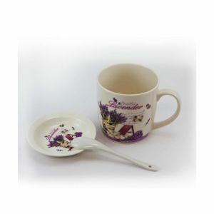 Porcelánový hrnek s talířkem a lžičkou Beautiful Lavender
