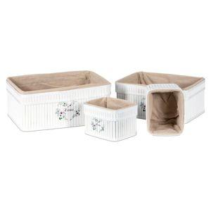 Sada bambusových košíků 4 ks, bílá