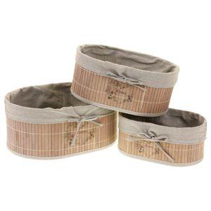 Sada oválných bambusových košíků, 3 ks