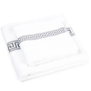 Sada ručníku a osušky Greek bílá, 50 x 100 cm, 70 x 140 cm