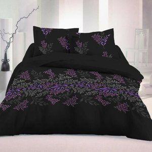 Saténové povlečení Victoria černá Luxury Collection, 140 x 220 cm, 70 x 90 cm