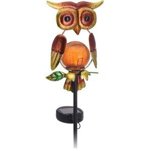 Solární lampa Owl červená, 12 x 6 x 54 cm