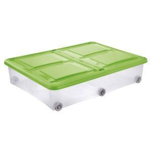Tontarelli Úložný box s víkem Stockbox 28 l, transparentní/zelená