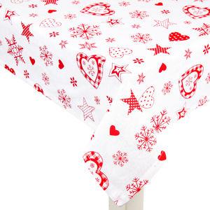 Vánoční ubrus Vločka a srdce červená, 140 x 180 cm