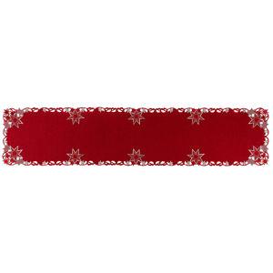 Vánoční vyšívaný ubrus Hvězdy červená, 35 x 160 cm