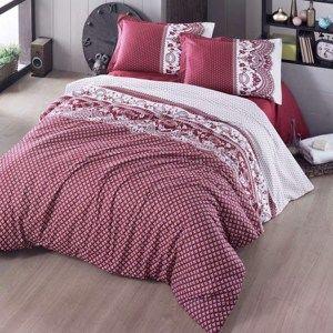 Bavlněné povlečení Canzone červená, 220 x 200 cm, 2 ks 70 x 90 cm