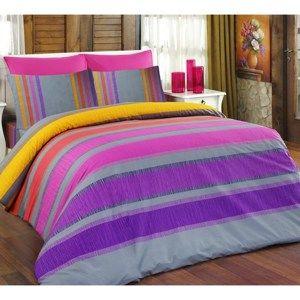 Bavlněné povlečení Elle fialová, 140 x 220 cm, 70 x 90 cm