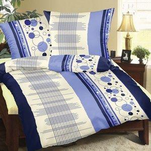 Bavlněné povlečení Mřížka modrá, 140 x 220 cm, 70 x 90 cm