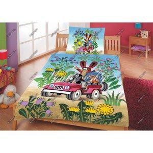 Matějovský dětské povlečení Krtek v autě, 140 x 200 cm, 70 x 90 cm