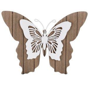 Dřevěná dekorace Motýlí mámení, bílá