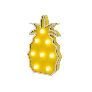 Dřevěná LED dekorace Ananas žlutá, 22 cm