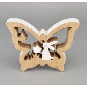 Dřevěný Motýl se zajíčkem, 15 cm