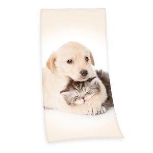 Osuška Pejsek a kočička, 75 x 150 cm