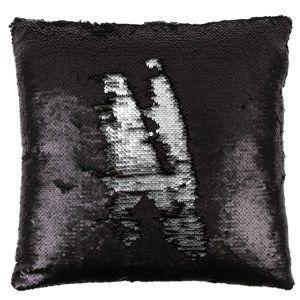 Polštářek s flitry černá a stříbrná, 40 x 40 cm