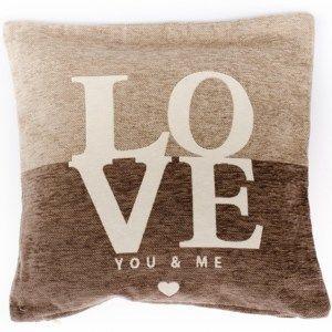 Povlak na polštářek Love hnědá, 45 x 45 cm