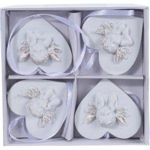 Sada vánočních dekorací Angelic heart, 4 ks