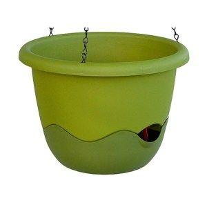 Samozvlažovací květináč Mareta 25 zelená, závěsný