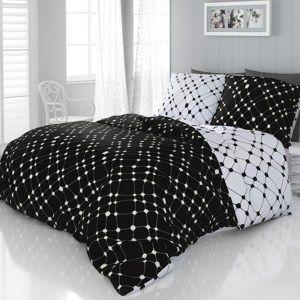 Saténové povlečení Infinity černobílá, 240 x 200 cm, 2 ks 70 x 90 cm