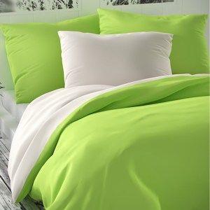 Saténové povlečení Luxury Collection bílá/sv. zelená, 200 x 200 cm, 2 ks 70 x 90 cm