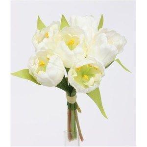 Umělá květina svazek Tulipán, bílá