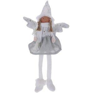 Vánoční anděl Bertina stříbrná, 46 cm
