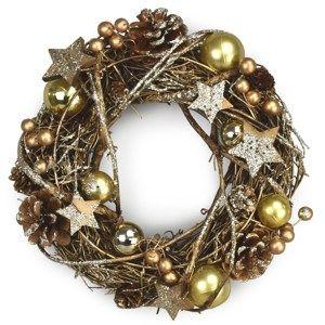 Vánoční ratanový věnec Luccio zlatá, pr. 24 cm