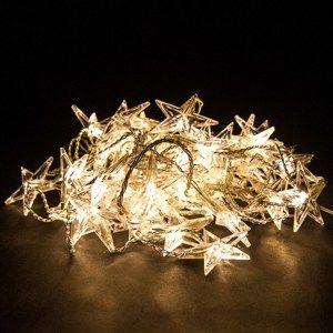 Závěsné svíticí řetězy s hvězdami, 50 LED